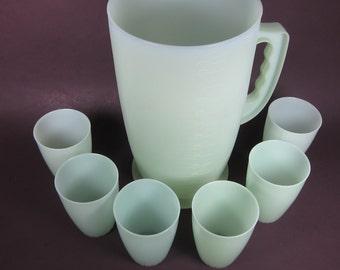 Vintage Plastic Pitcher and Cup Set Sterlite Handle 3 Quarts 6 Tumblers Green Plastic