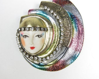 Vintage 80's Statement Brooch Face Rhinestone Colorful Foil Metallic