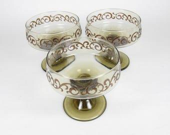 Libbey Tawny Prado Stem Glasses Set of 3 Sherbet Accent Champagne 70's Stemware Glass
