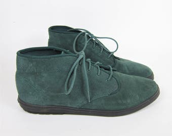 Vintage Keds Suede Boots Women's Size 7.5 Green Booties Chukka High Top Lace Up Granny Boots Leather