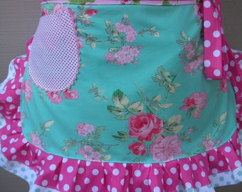 Womens Aprons - Aprons with Pink Roses - Handmade Aprons - Hot Pink Roses Apron - Shabby Chic Aprons - Annies Attic Aprons - Handmade Aprons