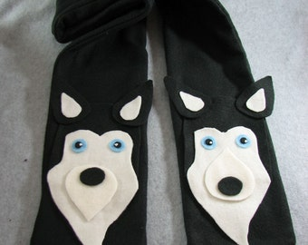 Fleece Husky Head Scarf in Black Ready To Ship