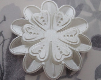 3 pcs. large pearlized plastic flower bead cabochons 54mm - r298