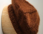Cinnamon Beret Handknit in Mohair Acrylic Blend Yarn - Soft and Lovely!