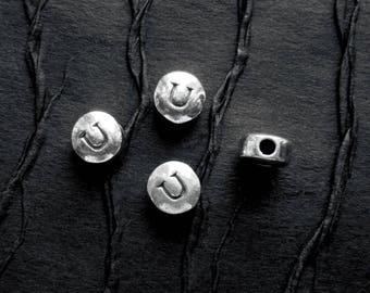 2  STERLING Silver Beads with the Letter -U- Stamped on both Sides - 7mm Wide x 4mm Thick  -  Hole is 3mm and Horizontal