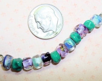 SORTAFLOWERING - 1 Set of 12 Small Organic Lampwork Beads in Turquoise, Lilac & Aqua