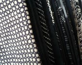 Silk Kimono Scrap Bag, Most Silk Vintage Kimono Crazy Quilt Supply, Black and White Mix, Asian Craft Textile