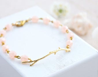 Branch Bracelet,  Twig Bracelet, Gold Branch Bracelet, Gift for Teacher, Bridesmaids Blush Bracelet, Beaded Blush Bracelet