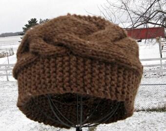 Brown Headband for Men or Women, Alpaca and Wool Headband, Knit Ear Warmer,  Winter Headband, Gift for Women or Men