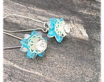 Dangle Earrings, blue flower earrings, blue earrings, flower earrings, earring dangles, earrings for women, jewelry gift by pinkicejewels