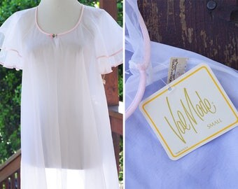 White LILY 1960's 70's Vintage Sheer White + Pink Nylon Chiffon Robe w/ Layered Sleeves // by Val MODE // size Small // Deadstock w/ Tags