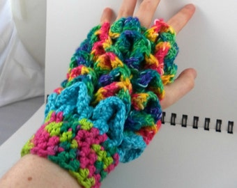 Rainbow Dragon Scale Crocheted Wrist Warmers (size S-M) (SWG-WD-SC01)