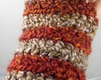 Tan and Rust Striped Crocheted Wrist Warmers (size M-L) (SWG-WW-MH15)