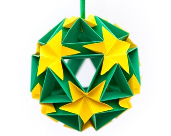 Flower Ball Origami Ornament, Hanging Home Decor, Paper Ornaments, Christmas Tree Decoration, Paper Christmas Tree Ornaments, Green + Yellow