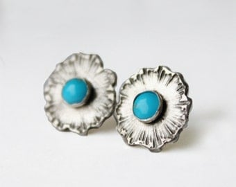 Turquoise Earrings, sterling silver post earrings, blue semiprecious etched flower jewelry