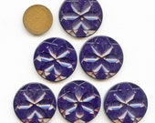 Set (6) LARGE Matching Carved Art Deco DARK BLUE Plastic Buttons 1  1/8 inch size 3744  More Available