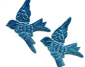 Pair PEACOCK Blue Velvet BIRDS  Millinery  Pressed Pieces Large  Embossed from Antique Molds Teal Turquoise MORE AVAlLABLE