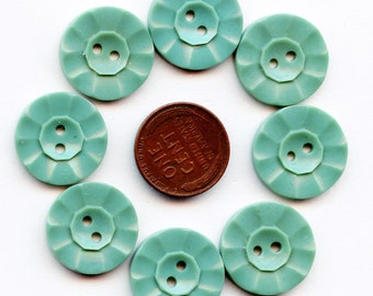 "Matching Set of (8) Vintage Aqua New Old Stock Casein Plastic 1940s TURQUOISE Buttons 3/4"" size 3786 MoRE AVAILABLE"