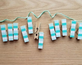 Aqua Seafoam Teal Turquoise Big Stripes w Twine for Photo Display, Chunky Little Clothespin Clips Set of 12, Baby Shower Birthday Party