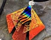 """Unique 3D Orange Rainbow Dichroic Glass Pendant with Adjustable 16"""" - 18.5"""" Black Necklace"""