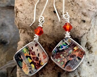 Dichroic Glass Earrings Square 'Redfire'  Multilayer Wire-Wrapped with Sterling Hooks