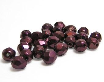 Fire Polished Beads - 6mm Fire Polished- Round Beads - Marsala - Czech Glass Beads - Czech Fire Polished - 6mm Round - 25pcs (B406)