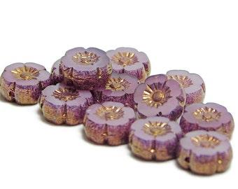 Hawaiian Flower Beads - Pink Flowers - Czech Glass Beads - 9mm - Czech Flowers - Hibiscus Flower - Czech Picasso Beads - 12pcs (5411)