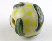 Yellow and Dark Green Ceramic Bead, Yellow Bead, Focal Bead, Stoneware Bead, Unique Bead, focal bead, unique beads, textured bead
