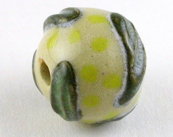 Yellow and Dark Green Ceramic Bead, Yellow Bead, Focal Bead, Stoneware Bead, Unique Bead, focal bead, unique beads, textured bead