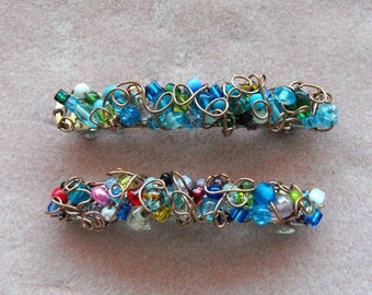 Wire Wrapped Beaded Sm Barrette, Free Domestic Shipping, Special Order, French Style, 3 x .5 inch, Wire Wrapped, Bridal, Women, Teens, Girls