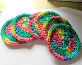 Cotton Face Scrubbies, Make up pad removers,Set of 6, Face Scrub, Round, Rainbow Colored