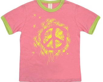Hipster kids clothes, Cool Kids, hipster clothes, Kids Tshirt, Peace, Organic Tee, Pink Tshirt, Girls Clothing, Girls shirts, gift for kids