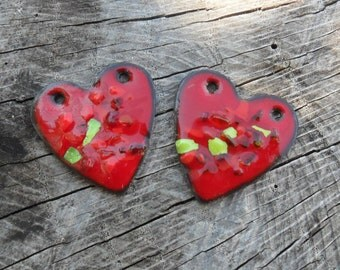Rustic Hearts Enameled Components, SRA Artisan Handmade Red Hearts Glassymom