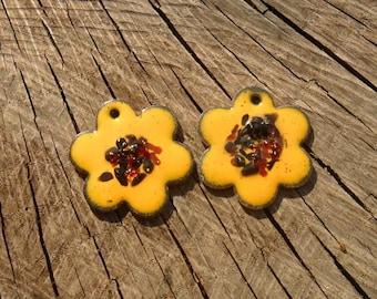 Sunflower Enameled Components SRA Artisan Handmade Glassymom