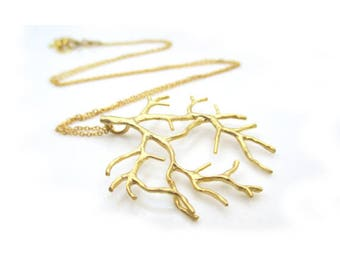Mothers Day Jewelry, Gold Branch Charm Necklace, Gold Branch Necklace, Gold Necklace, Delicate Necklace, Dainty Gold Necklace, ACACIA