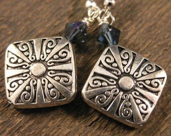 SALE Silver decorative diamonds and swarovski crystal handmade earrings