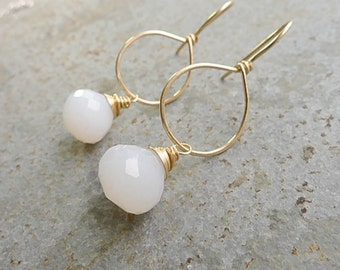 Gold Hoop Earrings with Nature Chalcedony Faceted Drops Oval Goldfilled Earings White Gemstone