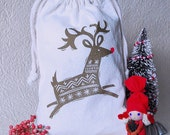 Leaping Reindeer Drawstring Holiday Gift Bag
