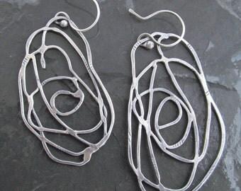 Large Silver Hoop Earrings Uneven Silver Hoops Long Dangling Earrings sterling Silver asymmetric  dangle earrings Boho Silver Jewelry