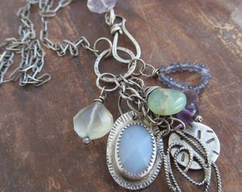 Silver Charm Necklace .925 Charm Cluster Necklace Stamped Silver Charm Necklace Pastel Purple Blue Green Amethyst Gemstone Cluster Necklace