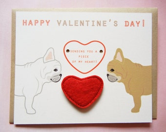 Valentine's or Galentine's Day French Bulldogs Heart Felt Applique Magnet Note Card with Envelope