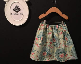 Sample SALE - Will fit Size 4T to 7Yr - Ready to MAIL - SKIRT -  Summer Blues - by Boutique Mia