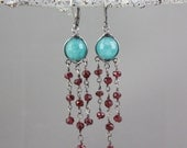 Reserved - Angelite and Garnet Chandelier Earrings