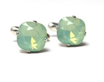 Mint Green Opal Crystal Cufflinks Classic Sparkling Seafoam Solitaire Swarovski 12mm Groom Groomsmen Gift for Wedding Party Spring Summer