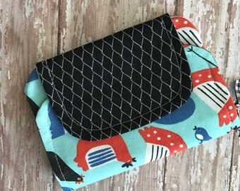 SALE-Zip Pocket Pouch-zipper pouch-coin purse-wallet -small clutch-blue black red chickens