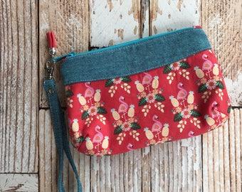 Flamingo Clutch  Hand Bag Womens Purse Small bag wristlet clutch. Zipper pouch. gift for her