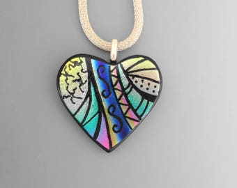 Fused Glass Dichroic Heart, Dichroic Fused Glass Hand Etched Pendant, Fused Glass Heart Pendant, Zentangle Pendant, Mothers Day Heart