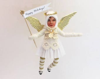 Vintage Inspired Spun Cotton Golden Angel Ornament