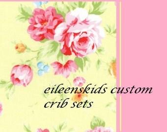 Girls Custom Crib set  Yellow and White with white accent Shabby chic style