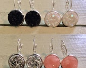 Leverback druzy earrings-your choice of stones-black druzys-pale pink druzys-silver druzys-opaque white druzys-bridesmaid earrings